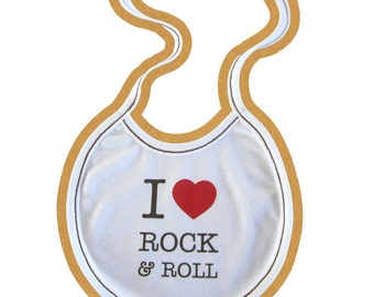 Soft&Natural Organic baby BIB with print I <3 rock and roll , from ORGANIC COTTON