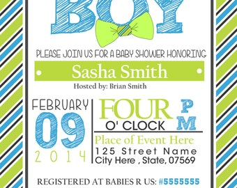 Baby Shower Invitation for Boy, Bow Ties, Custom & Printable