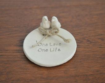 Little Love Birds Wedding Ring Dish - ring holder wedding bowl wedding ring pillow wedding favor bridesmaid jewelry holder jewelry dish