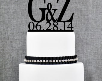 Two Initials Wedding Cake Toppers with DATE, Unique Personalized Cake Toppers by Chicago Factory- (T051)