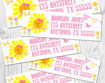You Are My Sunshine Return Address Labels - Party Favors - DIY - You Print