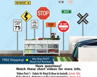 Kids Wall Stickers, Stop Sign Stickers, Traffic Sign Stickers, Rail Road Crossing Sign, Do Not Enter Sign Decal (Street Sign Set 1) STS