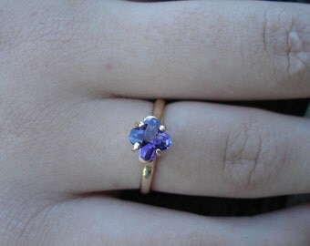 Carved amethyst engagement ring, handmade engagement amethyst, purple amethyst brithstone, solid yellow gold, amethyst ring, ethical gold