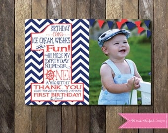 Nautical Thank You Card, Nautical Thank You, Printable, Nautical First Birthday, Nautical Invitation, First Birthday Thank You, Anchor, Sea