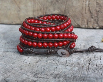 Red Coral 5 Wrap Bracelet On Dark Brown Leather,6mm Beads