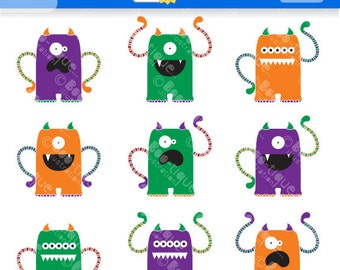 Monsters Digital Clipart. Monsters Clip Art. Halloween Clipart. Monsters Clipart. Halloween Clip Art. Monsters Vector