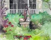 "Garden Painting - Print from Original Watercolor Painting, ""5th Avenue"", Garden Decor, Garden Art, Watercolor Flowers"