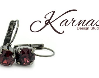 BURGUNDY 8mm Crystal Chaton Drop Leverback Earrings Made With Swarovski Elements *Pick Your Setting *Karnas Design Studio *Free Shipping*