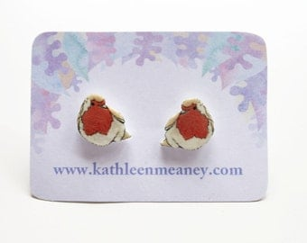 Robin bird stud earrings