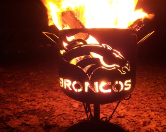 Denver Broncos compact fire pit of salvaged steel