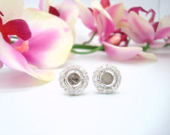 0.40CTW Halo Diamond Semi Mount Earrings in 14K White Gold