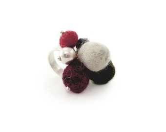 Balls Ring, Modern Design Ring, Wool Jewelry, Different Ring, boiled wool jewelry