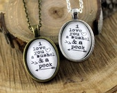 Pendant Necklace I love you, a bushel and a peck Vintage Style Brass or Silver Pendant Hymn Drop