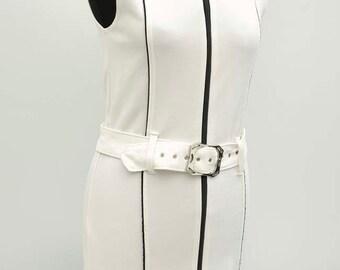 Vintage 1990s Barbarella 60s-Style White Bodycon Lycra Mini Dress S/M