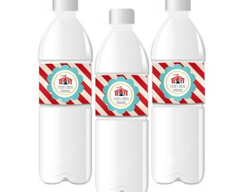 Circus Carnival Water Bottle Labels for Carnival Birthday Party - Carnival Party Labels Circus Water Bottle Labels (EB2350CC) -  set of 24|
