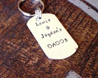 Handstamped Keychain Mens Keychain Dad Keychain Customized Keychain Personalized Mens Keychain Father Keychain