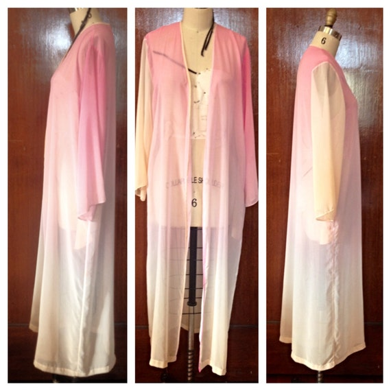 Authentic vintage 1970s sheer pastel ombre gypsy tie dye hippie draped boho caftan festival maxi dress robe jacket fishtail maxi