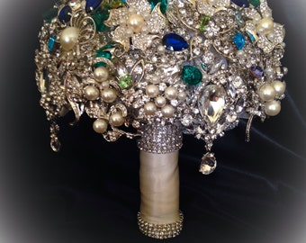 Brooch Bouquet In Vintage Style Green Blue Turquoise Purple FULL PRICE Crystal Bling Pearl
