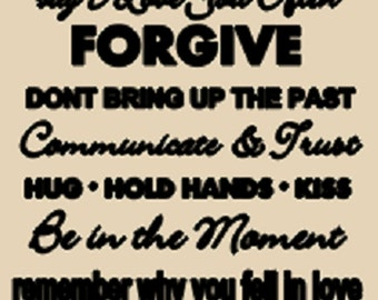 Rules for marriage wall decal, words wall decor, sucessful marriage, vinyl wall decal