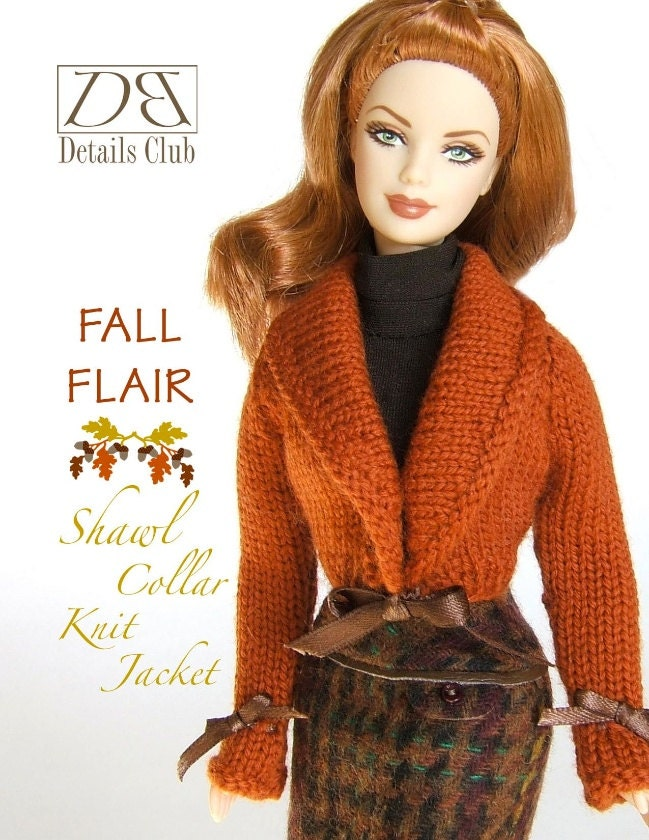 Knitting pattern for 11 1/2 doll Barbie: Shawl Collar