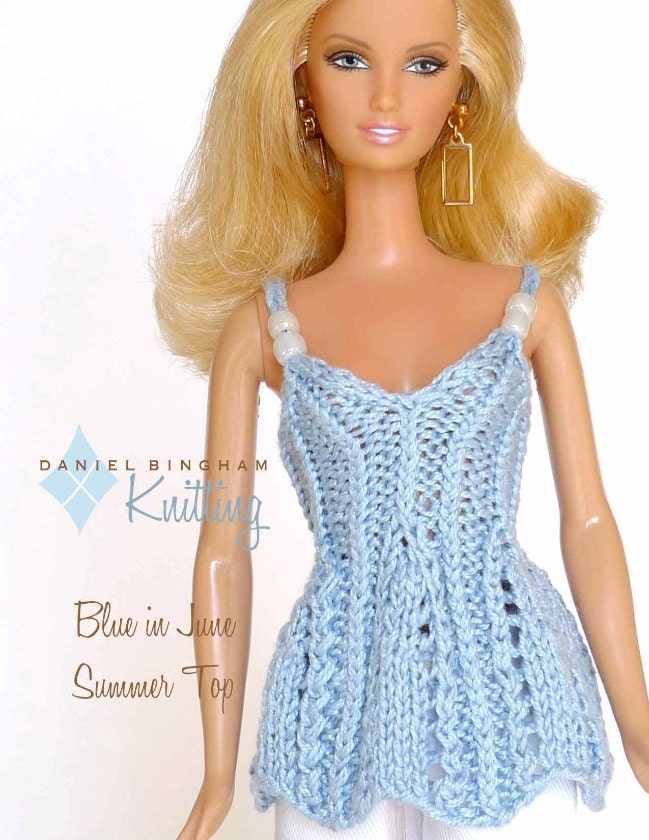 Knitting pattern for 11 1/2 doll Barbie: Blue in June