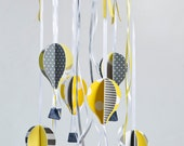 Yellow gray mobile | Baby mobile | Hot Air Balloons mobile | Yellow gray nursery decor | crib mobile | modern nursery decor | shower gift