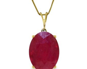 14K. Solid Gold Necklace with Natural Oval Ruby (Yellow Gold, White Gold, Rose Gold)