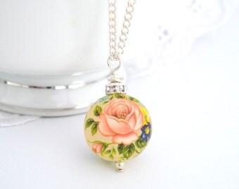 Vintage Pink Rose Necklace, Tensha Necklace, Crystal Rondelle, Bridesmaid Jewelry