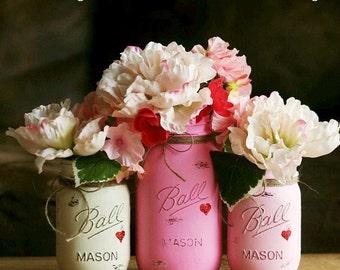 Painted Mason Jar - Distressed Mason Jars - Vase - Home Decor - Wedding Centerpiece - Baby Shower - Mason Jar Decor - Valentine Decor
