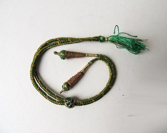Adjustable Necklace Extender Green and Gold Cord