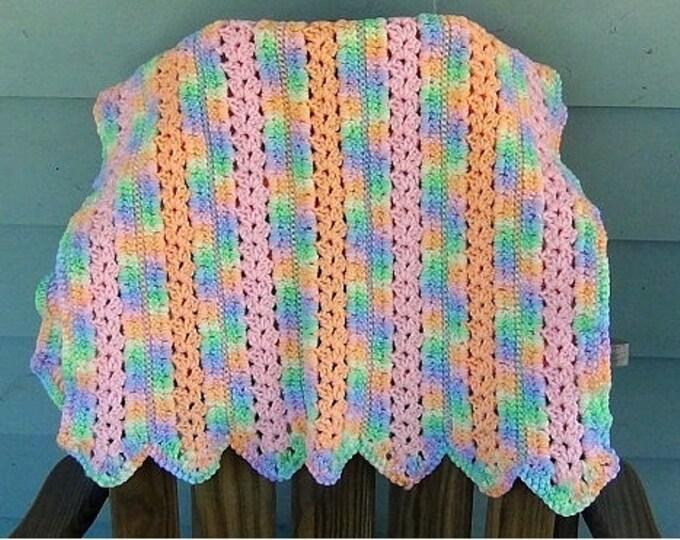 Blanket - Baby Blanket - Changing Blanket - Babyghan - Pastel Rainbow Crochet Afghan