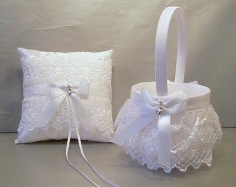 White on White Wedding Bridal Flower Girl Basket and Ring Bearer Pillow Set ~ Allison Line ~ (May also be purchased individually)