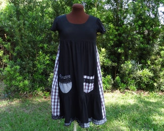 Upcycled Clothing/ Refashioned Cotton Dress/  Upcycled Eco Friendly Black Dress, Boho Black Dress