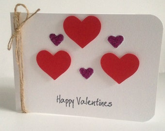 Simple & elegant handmade love heart 'Happy Valentines' cards with envelope