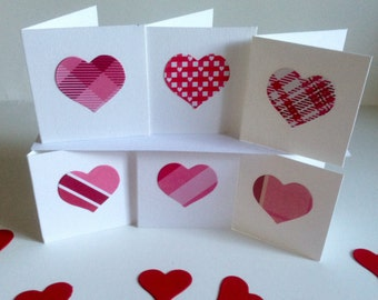 6 handmade Love Heart themed open fold Gift tags for presents any occasion valentines