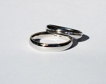 Diamond Wedding Band Set, White gold Wedding rings, Design Wedding rings, Handmade Wedding Band, Eternity, Custom made, Tiny Wedding band