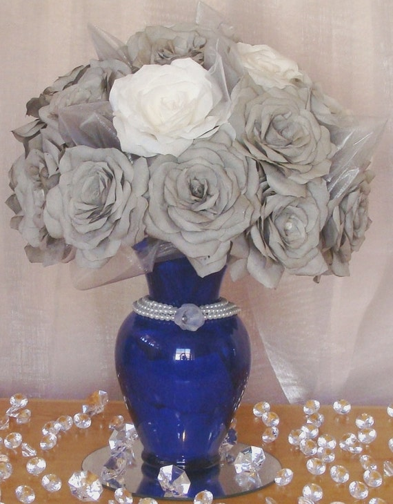 Navy blue wedding centerpiece decorations by