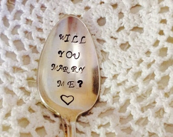 Will You Marry Me Hand Stamped Vintage Silverware Spoon Marriage Proposal, Engagement