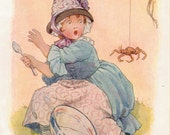 RARE and ORIGINAL Ready Matted Nursery Rhyme Print by Margaret Tarrant c.1920's. Little Miss Muffet & Spider!