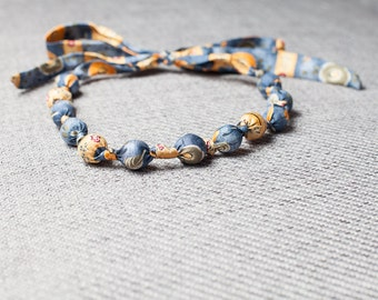 Silk fabric beaded necklace (14)