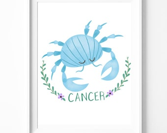Cancer - Zodiac Print - Astrology Print
