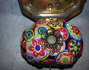 SALE!!  Pincushion in a tiny brass box-vintage-unique-handmade-retro