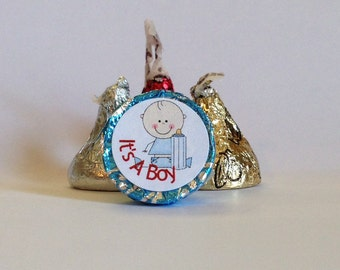Sitting Baby Boy With Bottle ~ Its A Boy ~ 108 Hershey Kiss Candy Label Stickers