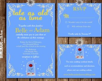 beauty and the beast themed wedding invitations   feliciaday, Wedding invitations