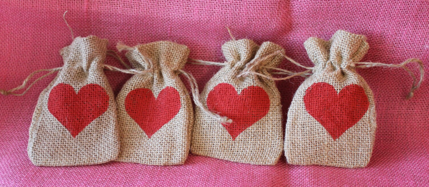Small Burlap Bag. Custom Wedding Favor Bag. Baby Shower