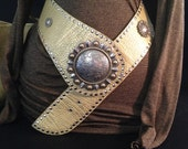 Leather Studded Conch Slouch Belt