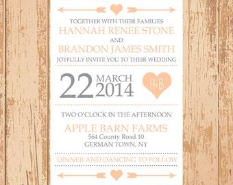 Tribal Wedding Invitation - Printable PDF JPEG - We can match your wedding color!
