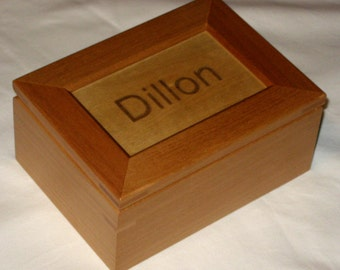 Personalized Maple Wooden Keepsake Box - Custom Engraved Text