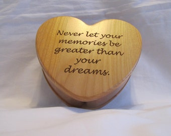 Personalized Wooden Heart Keepsake Box With Custom Engraved Text