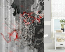 Abstract Art Shower Curtain Contemporary Bathroom Decor Red Black Gray W
